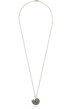 Bibi van der Velden 18K rose gold diamond and sapphire shell pendant - METALLIC