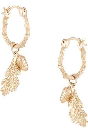 Karen Walker Women Earrings - Acorn & leaf mini hoops