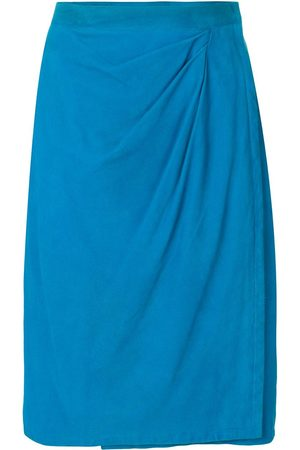 Yves Saint Laurent Pre-Owned Draped front leather skirt