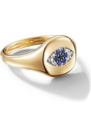 David Yurman 18kt yellow gold Cable Collectibles Evil Eye sapphire and diamond mini pinky ring - 88ABSBODI