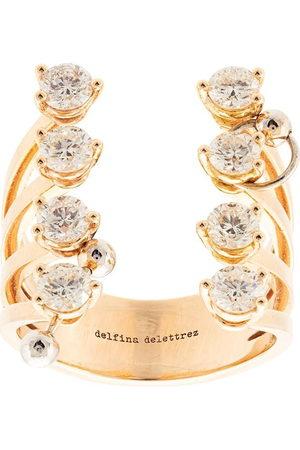 DELFINA DELETTREZ 18kt yellow gold pierced diamond dots ring