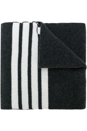 Thom Browne Men Scarves - Full Needle Rib Scarf With White 4-Bar Stripe In Cashmere