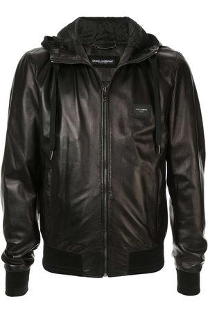 Dolce & Gabbana Men Leather Jackets - Hooded leather jacket
