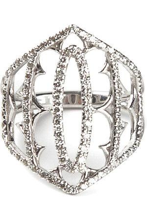 LOREE RODKIN White gold and grey diamond pavé shield ring - Metallic