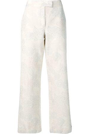 Salvatore Ferragamo 1990's floral print wide-leg trousers - Neutrals