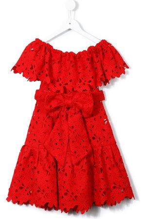 Little Bambah Girls Knitted Dresses - Crochet off-shoulder dress