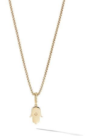 David Yurman 18kt yellow gold Amulets diamond Hamsa pendant - 88ADI