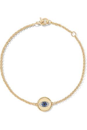 David Yurman Women Bracelets - 18kt yellow gold Cable Collectibles diamond and sapphire evil eye charm bracelet - 88ABSBDDI