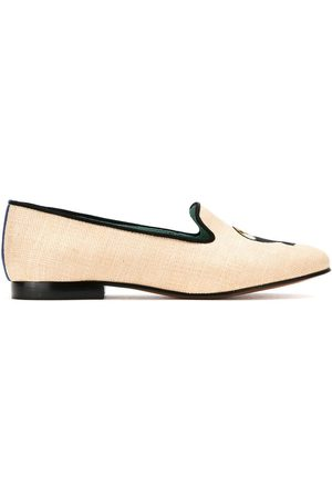 Blue Bird Leather and straw Tucano loafers - NEUTRALS