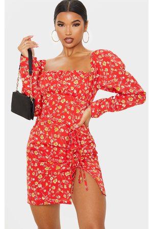 PRETTYLITTLETHING Women Bodycon Dresses - Ditsy Floral Bow Detail Side Split Bodycon Dress