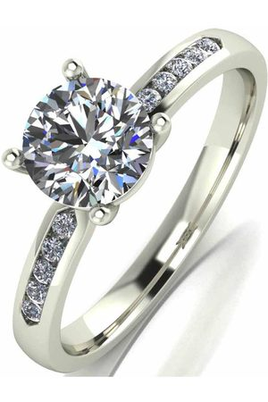 Moissanite Women Rings - 9 Carat White 1.10Pt Equivalent Solitaire Ring With Set Shoulders