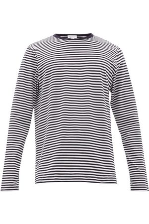 Sunspel Breton-striped Cotton-jersey Long-sleeved T-shirt - Mens - Navy