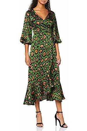 Liquorish Women's Animal Wrap Midaxi Dress with Ballony 3/4 Length Sleeves