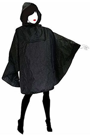 SMATI Women's Fashion Rain Poncho Cape with Hood - Waterproof Quality Fabric Outdoor Activity Bike Motorcycle Hiking - with White Polka Dots