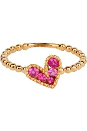 ROSA DE LA CRUZ Baroque Boules Heart Charm Ring