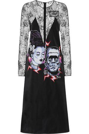 Prada Printed lace midi dress
