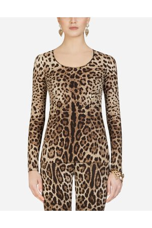 Dolce & Gabbana Shirts and Tops - LEOPARD-PRINT CHARMEUSE TOP
