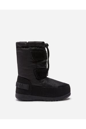 Dolce & Gabbana Shoes - NYLON AND SPLIT-GRAIN LEATHER SNOW BOOTS WITH LOGO