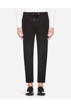 Dolce & Gabbana Trousers - STRETCH COTTON JOGGING PANTS WITH PLATE