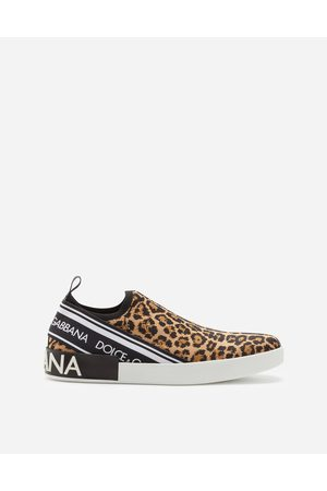 Dolce & Gabbana Men Trainers - Sneakers and Slip-On - PORTOFINO SLIP-ON SNEAKERS IN LEOPARD-PRINT JACQUARD