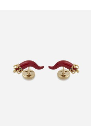 Dolce & Gabbana Jewelry - GOOD LUCK CUFFLINKS IN ENAMELLED YELLOW