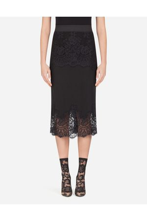 Dolce & Gabbana Underwear and Socks - CREPE DE CHINE MIDI SKIRT WITH LACE DETAILS