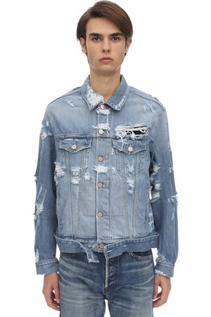 Vetements Destroyed Logo Cotton Denim Jacket