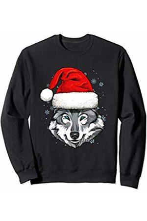 Wowsome! Wolf Christmas Santa Hat Xmas Gifts Kids Boys Girls Sweatshirt