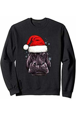Wowsome! Hippo Christmas Santa Hat Xmas Gifts Kids Boys Girls Sweatshirt