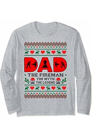Rinabatu Designs Dad The Man The Myth The Legend Fireman Christmas Gift Long Sleeve T-Shirt