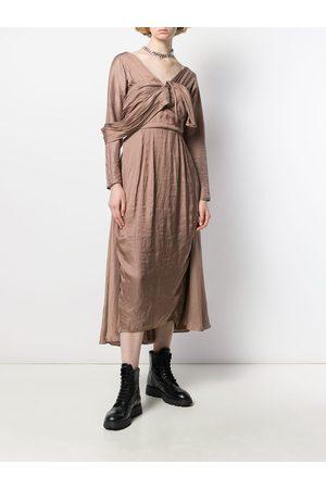 Prada Women Midi Dresses - Deconstructed midi dress - Neutrals