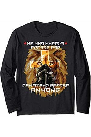 Christian Gifts by Alexis Mae Lion Cross Sayings Gifts Christian Men Him Religious Husband Long Sleeve T-Shirt