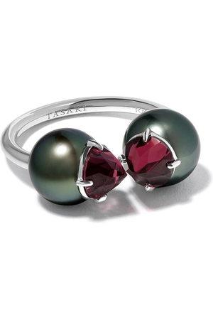 Tasaki 18kt refined rebellion signature garnet and south sea pearl ring