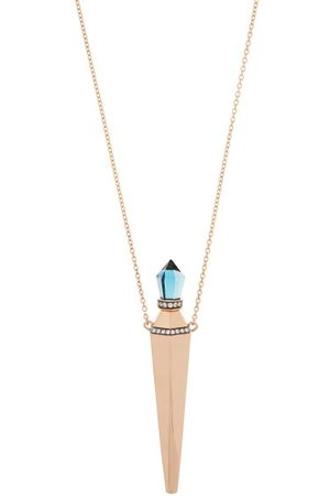 Diane Kordas Blue Topaz & 18kt Rose Amulet Necklace - Womens - Rose