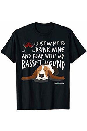 ToonTyphoon Amusing Basset Hound Drink Wine and Play T-Shirt