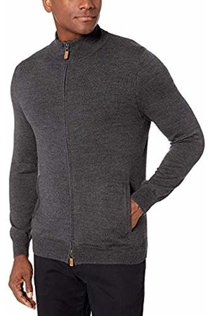 Buttoned Down Italian Merino Wool Full-zip Sweater Dark