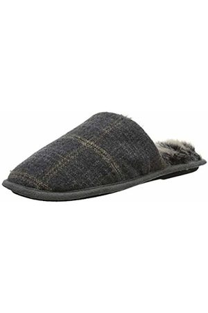 Totes Men's Fur Lined Check Moccasin Slippers, Large