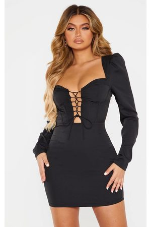 PRETTYLITTLETHING Lace Up Cup Detail Long Sleeve Bodycon Dress
