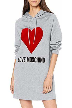 Love Moschino Women's Logo and Heart Print_Long Sleeve Hooded Dress, 40 EU