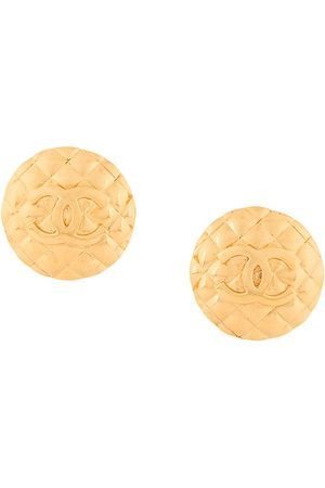 Chanel Pre-Owned 1980s CC logo round clip-on earrings - Metallic