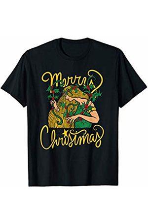 SnuggBubb Merry Christmas Holly Goddess Art Christmas T-Shirt