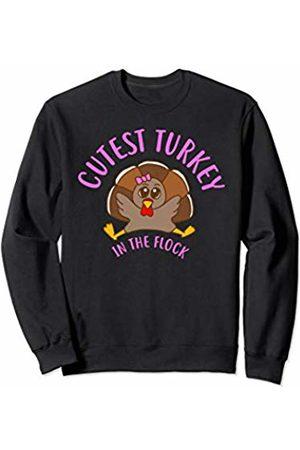 Tanya Turkey Cutest Turkey in the Flock Kids Thanksgiving Sweatshirt
