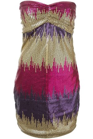 VERSACE Strapless sequined mini dress
