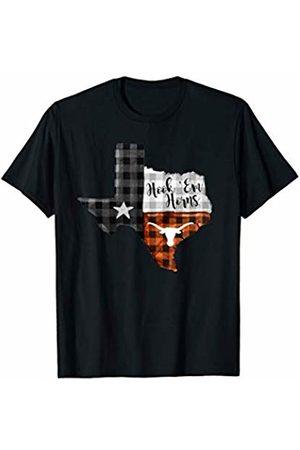 FanPrint Texas Longhorns Texas State Map - Checkered Pattern T-Shirt