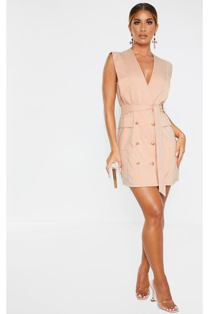 PRETTYLITTLETHING Women Sleeveless Dresses - Nude Sleeveless Gold Button Detail Blazer Dress