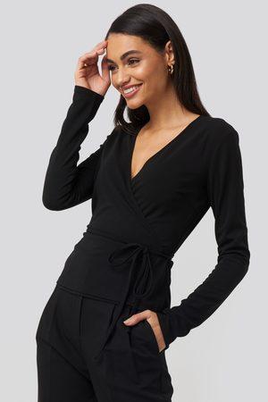 NA-KD Wrap Over Long Sleeve Top - Black
