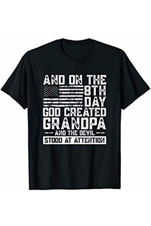 And The Devil Stood At Attention Before Him And On The 8th Day God Created Grandpa American Flag Picture T-Shirt