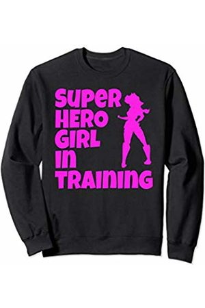 Funny And Witty Gym Woman's And Girls Gym Clothing Super Hero Girl In Training Pink Print Sexy Girl Workout Gym Sweatshirt
