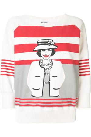 CHANEL Mademoiselle print striped sweatshirt
