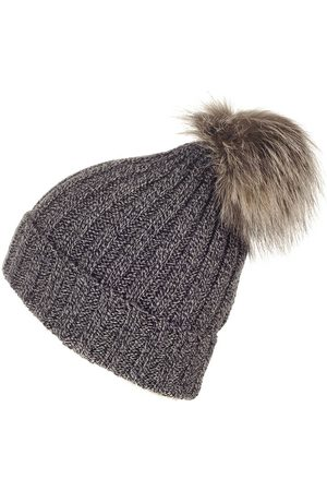 Black Hats - And Melange Fur Pom Pom Hat